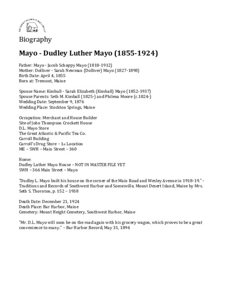 Mayo - Dudley Luther Mayo (1855-1924)